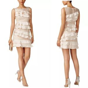 Adrianna Papell Lace Ruffle Tiered Cocktail Dress